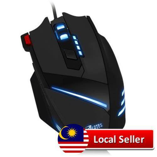 ZELOTES T - 60 7200DPI PROFESSIONAL USB WIRED OPTICAL 7 BUTTONS SELF-DEFINING GAMING MOUSE (BLACK) Malaysia