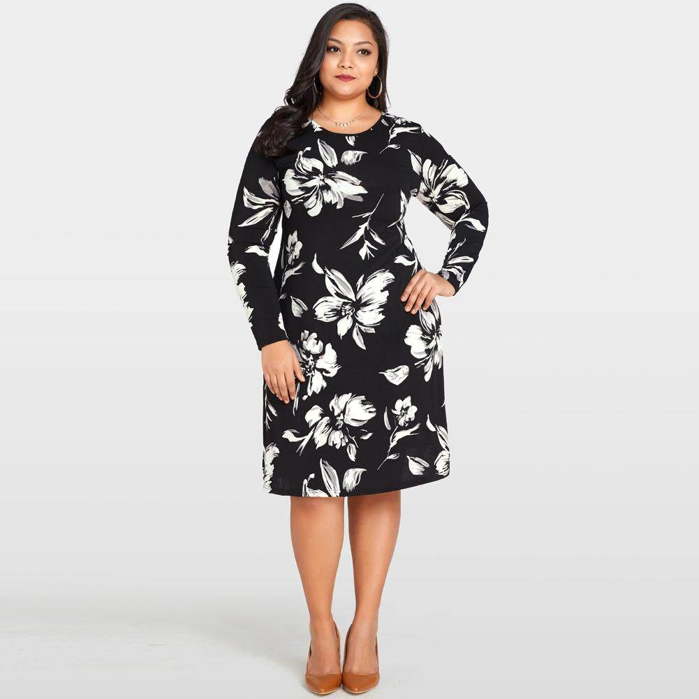 d6c73b03edb Women Floral Printed Dress O-Neck Long Sleeve Loose Midi Dress Casual Plus  Size Vestidos