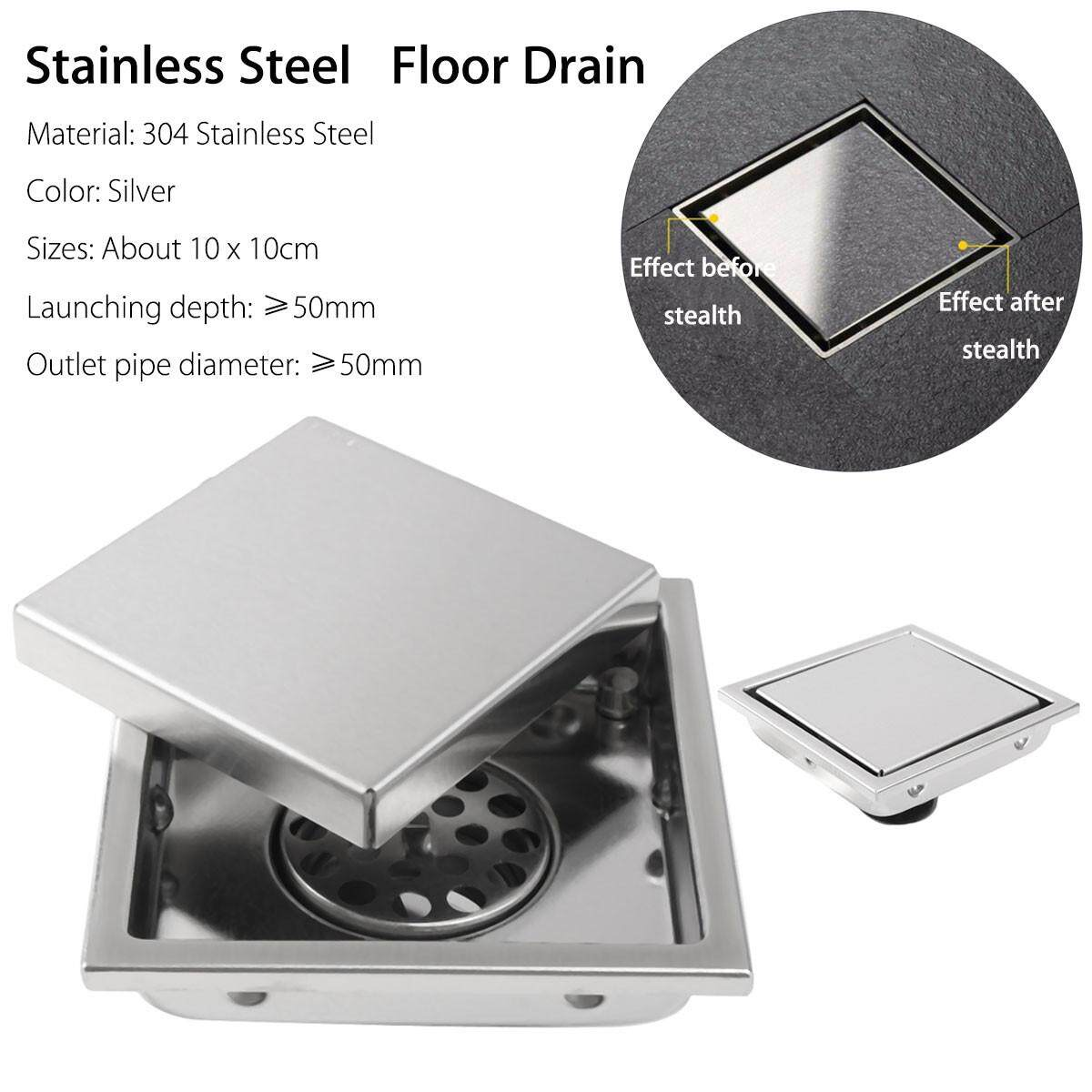 304 Stainless Steel Invisible Bathroom Floor Drain Waste Grate Shower Drainer By Autoleader.