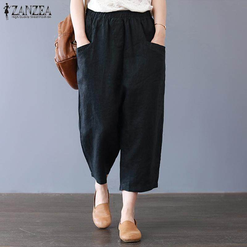 667303e695dc ZANZEA Women High Waist Basic Cropped Pants Capris Pantalon Wide Leg Plus  Size Trousers