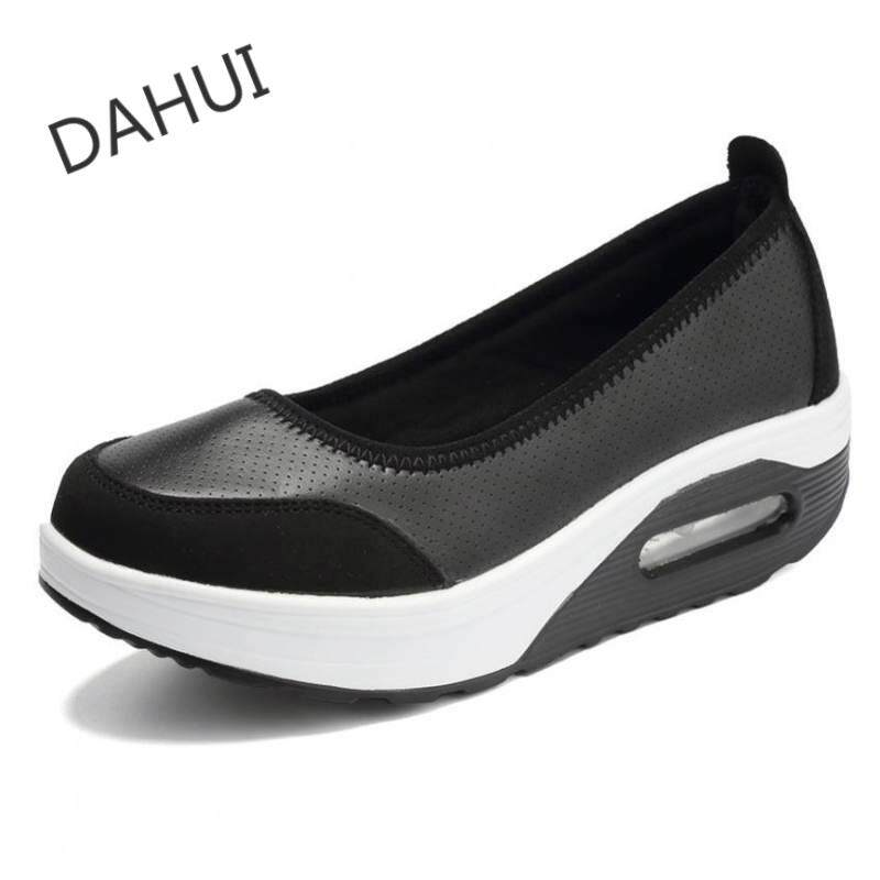 b5f83d287 Women's Shape Ups Slip on Wedge Sneakers Fitness PU Leather Shoes (Black)