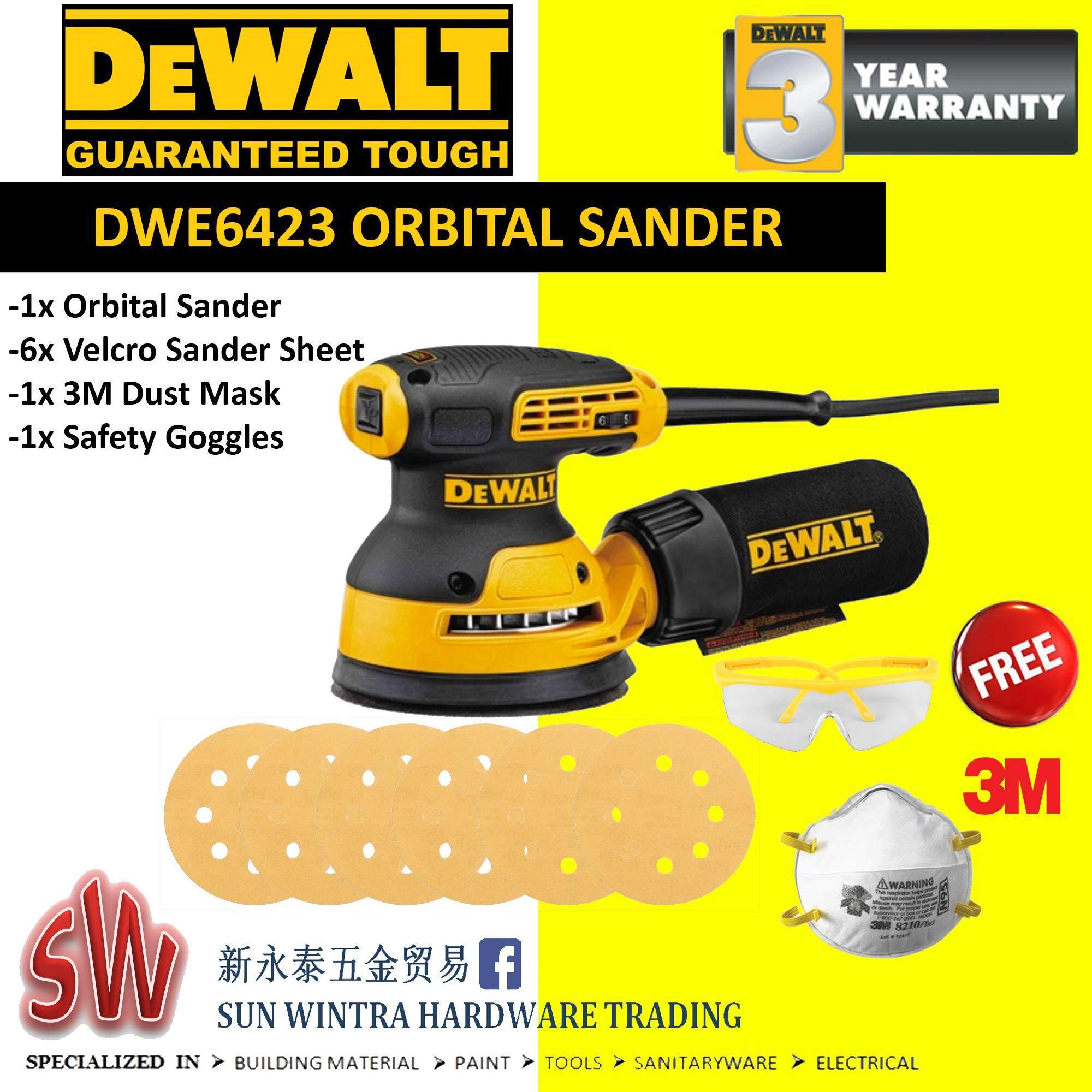 DEWALT DWE6423 125MM ORBITAL SANDER F.O.C SANDING SHEET AND SAFETY GOGGLE & MASK
