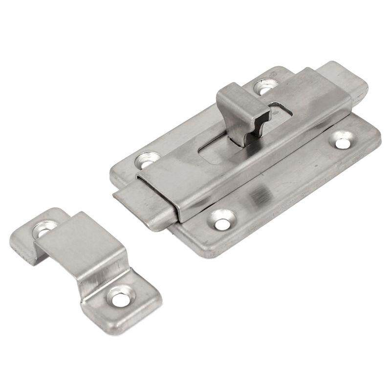 Bathroom Toilet Door Stainless Steel Gate Security Bolt Lock plug Hardware Silver