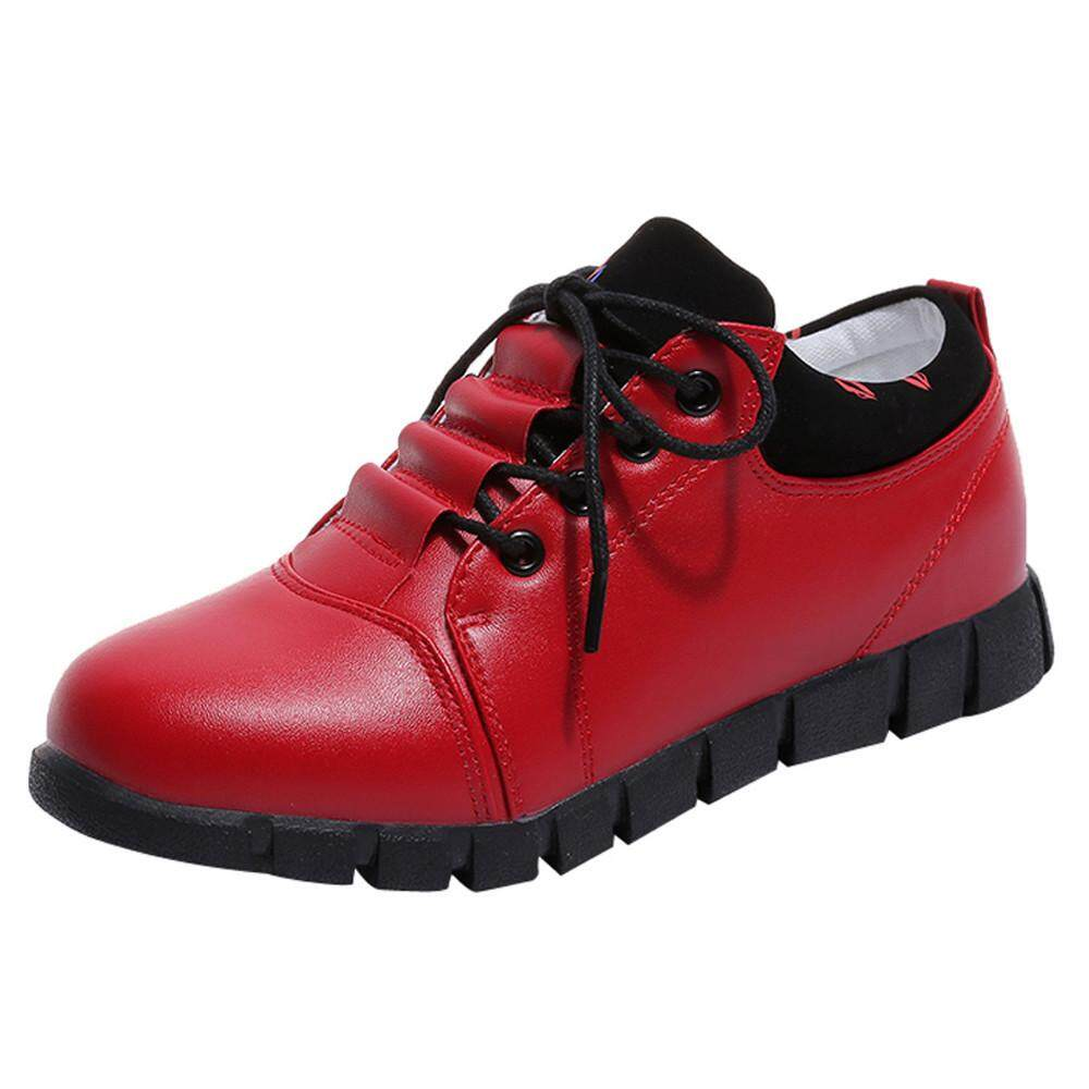 (audestore)_women Outdoor Leather Shoes Casual Lace Up Comfortable Soles Running Sport Shoes By Audestore.