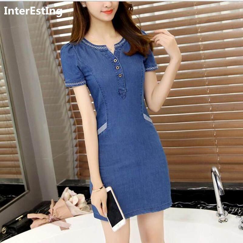 8db75176879 Korean Summer Denim Dress Lady Midi Slim A-LINE Jeans Dresses Woman Causal Short  Sleeve