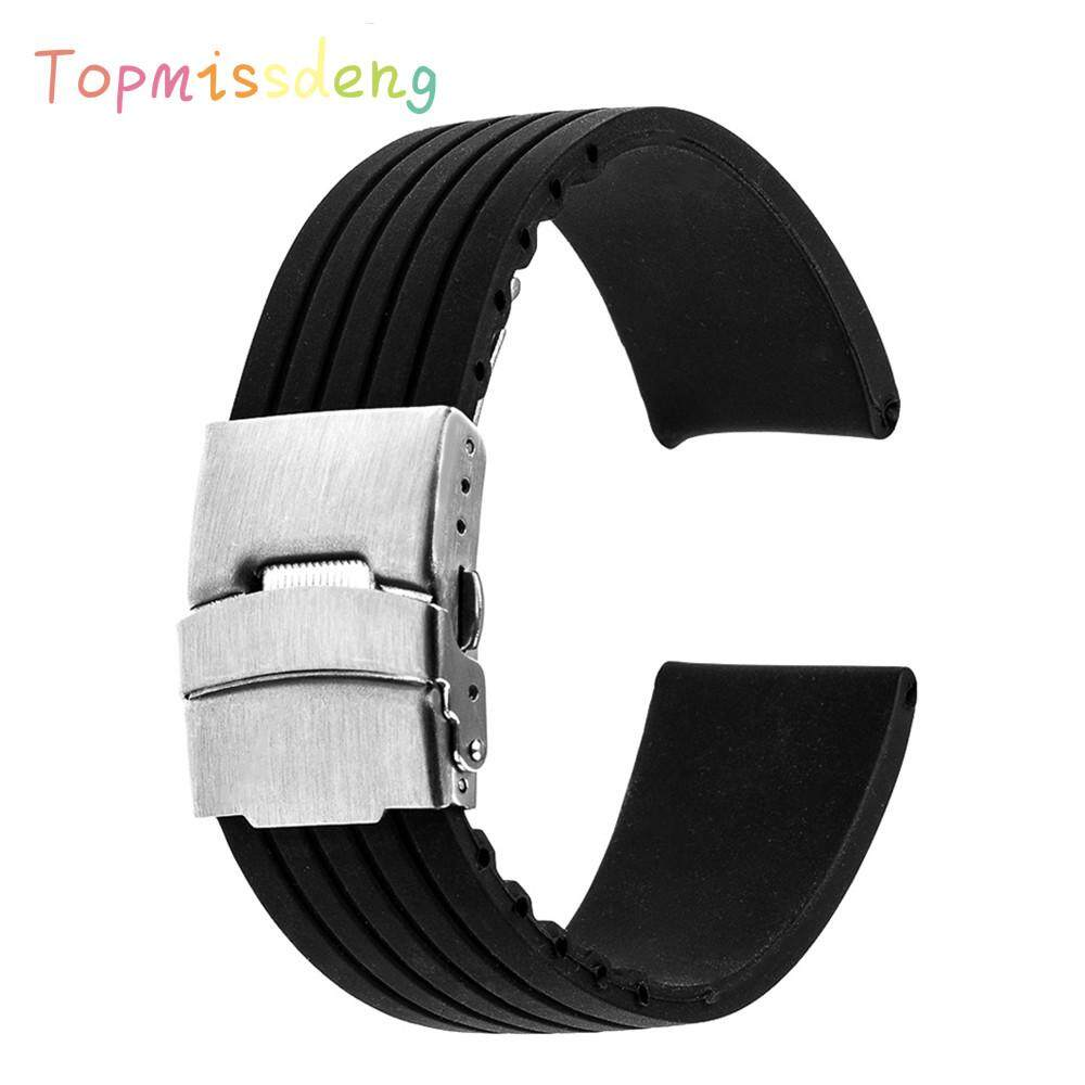 Topmissdeng 20mm Universal Silicone Rubber Watchband Stainless Steel Buckle Watch Band Resin Strap Malaysia