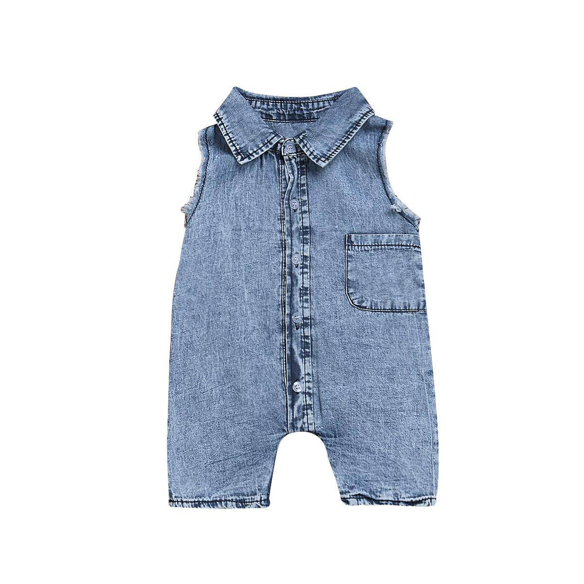 820016322c60f Rayeshop Newborn Baby Boys Sleeveless Jeans Romper Jumpsuit Children Clothes
