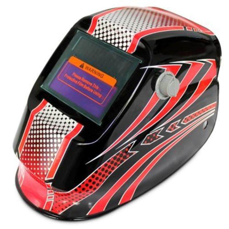 SOLAR ENERGY AUTOMATIC CHANGEABLE LIGHT ELECTRIC WELDING PROTECTIVE HELMET WITH LINE PATTERN (RED)