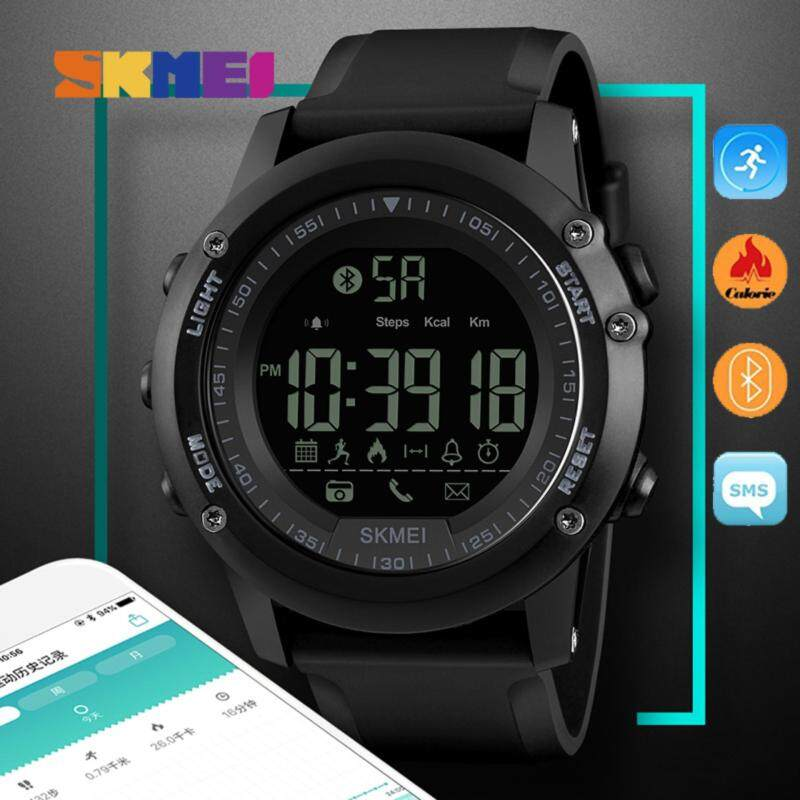 SKMEI 1321 Men Smart Watch Bluetooth Pedometer Calories Chronograph Fashion Outdoor Sport Backlight Waterproof Man Wristwatches Black Malaysia
