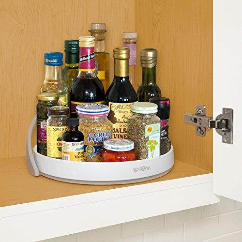 Youcopia Crazy Susan Cabinet Turntable Organizer With Backstop, 11-Inches By Cross Border.