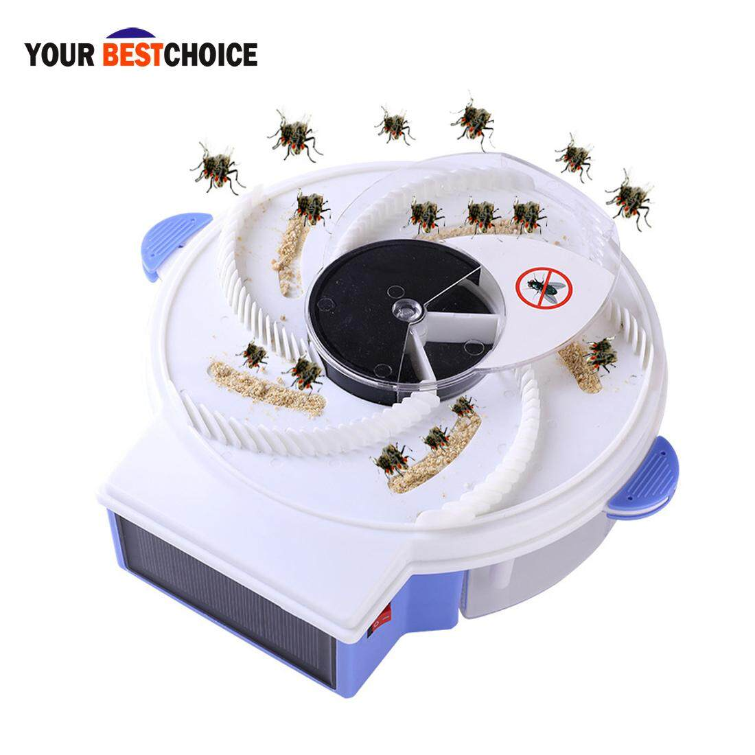 YBC Solar Energy Electric Fly Trap Device with Trapping Food Flycatcher Artifact Catcher