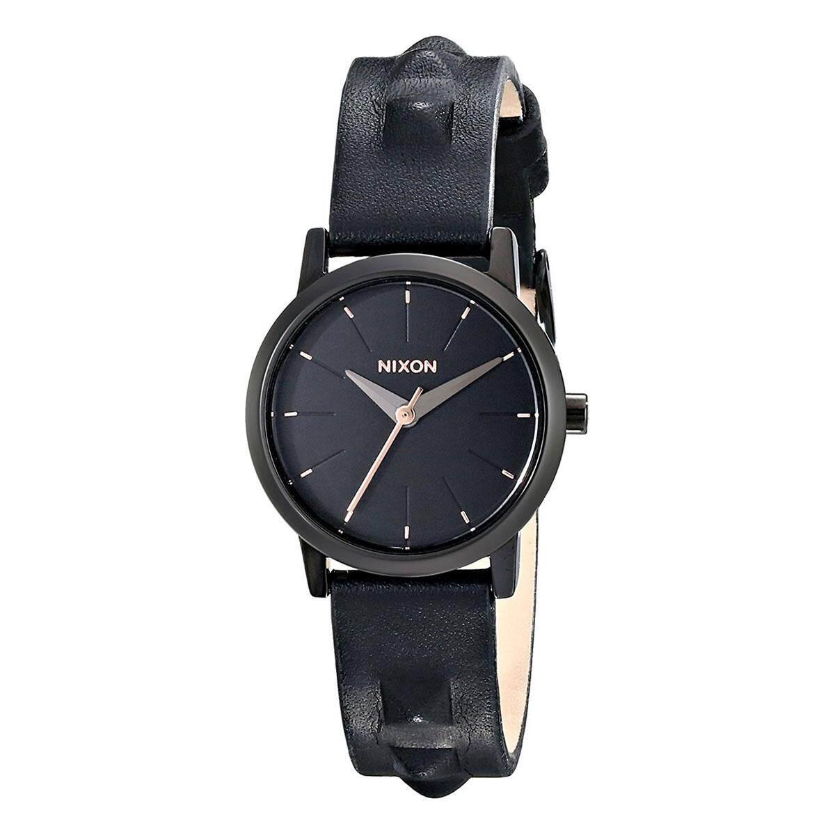 3e34e867c48 Nixon Kenzi Black Stainless-Steel Case Leather Strap Ladies A3981669