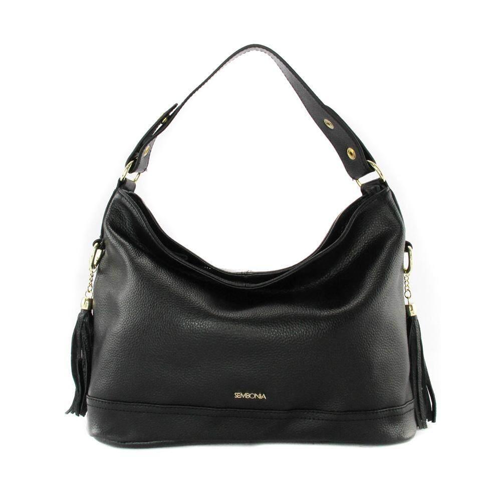Sembonia Leather Hobo Bag Black