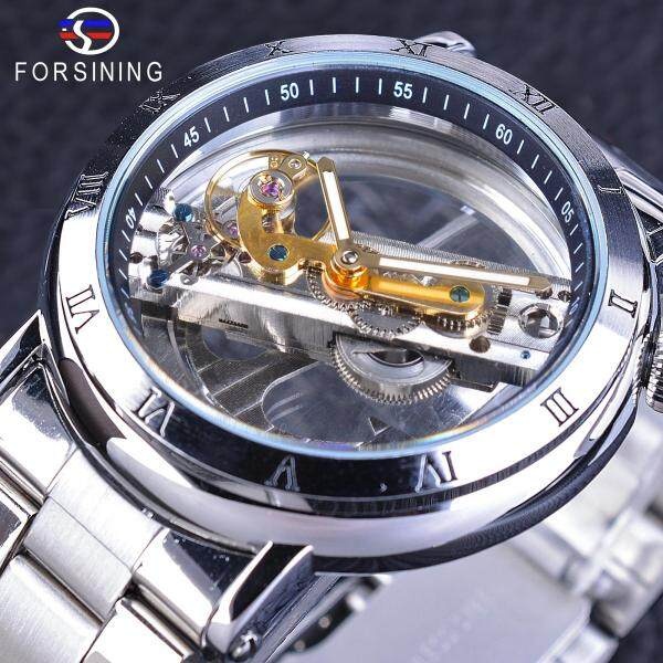 Forsining Double Side Transparent Tourbillion Silver Case Mechanical Steampunk Mens Skeleton Clock Creative Mechanical Watch Malaysia
