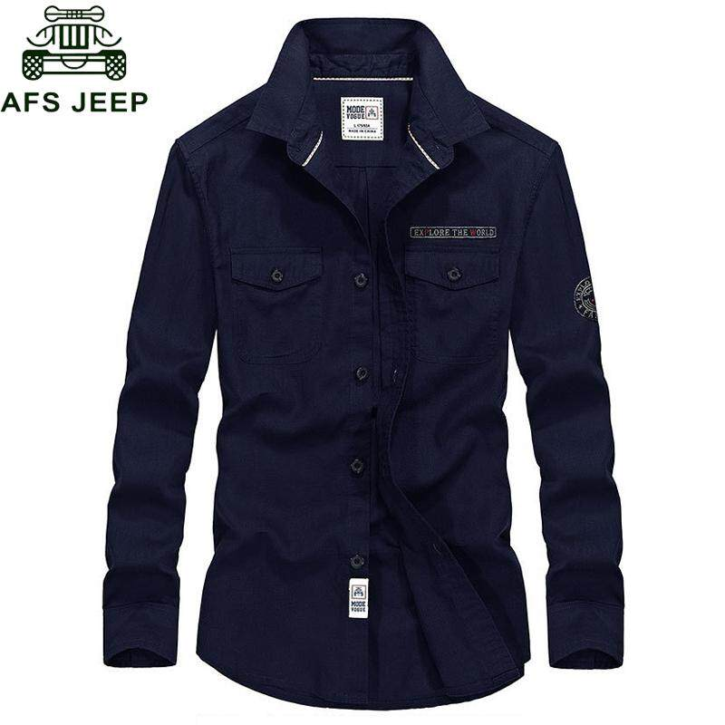fbf1a864fb8d AFS JEEP Spring Autumn Men Casual Pure Cotton Long Sleeve Turn-down Collar  Single Breasted