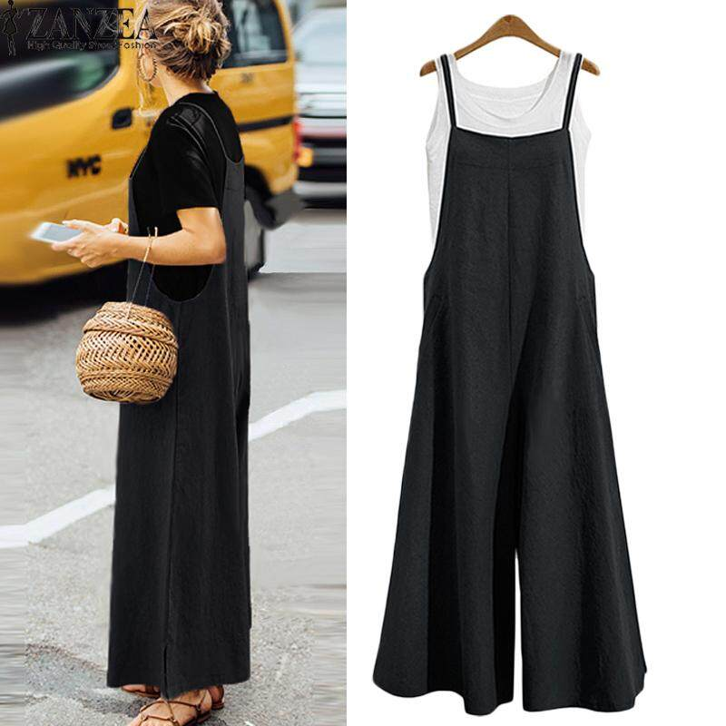 60bbc4bf33 ZANZEA Women Casual Solid Spaghetti Straps Wide Leg Pants Pockets Romper  Dungaree Bib Overalls Loose Cotton