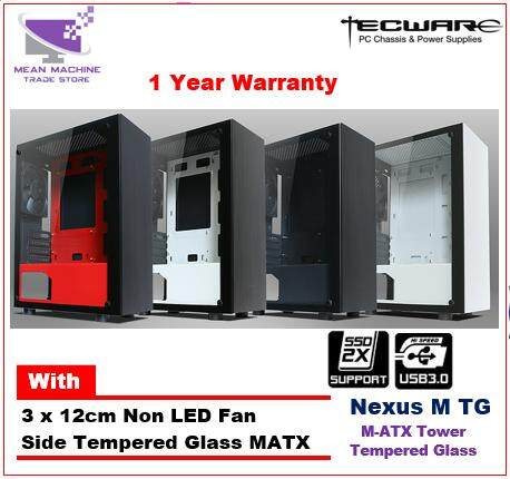 Tecware Nexus M TG M-ATX Tempered Glass Gaming Chassis ( 3 X 12cm Fan Included) Malaysia