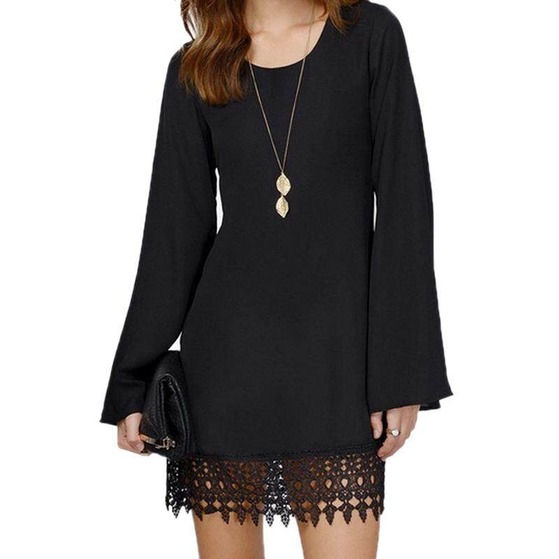 0c2346924f8 Women Sexy O-Neck Loose Shirt Long Sleeve Plus size Formal Casual Lace Dress  Black