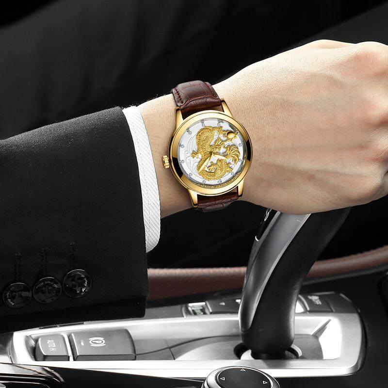 [CNY 2020] FNGEEN 3D engraving Golden Dragon Quartz Watch Mens Top Brand Luxury Fashion Stainless Steel Watches Malaysia