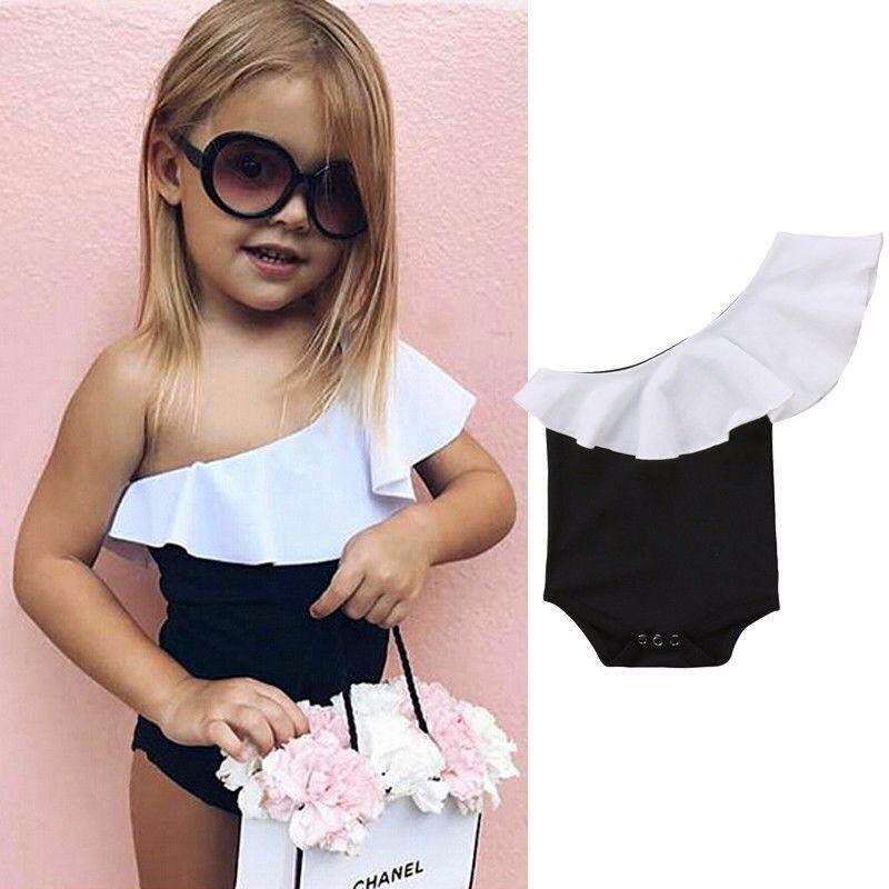 Girls Inclined Shoulder Romper Newborn Infant Baby Ruffle Bodysuit Sunsuit By Gl1297 Store.