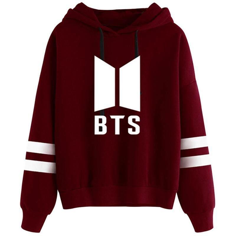 10140b09907 SUNNY Women Autumn Kpop BTS Simple Printing Leisure Loose Hooded Sweatshirt