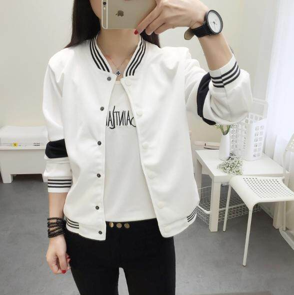 Yoyomi Womens Korean New Loose Casual Baseball Long Sleeve Jacket By Yoyomi.