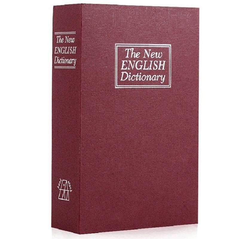 Dictionary Book Safe Diversion Secret Hidden Security Stash Booksafe Lock&Key Red