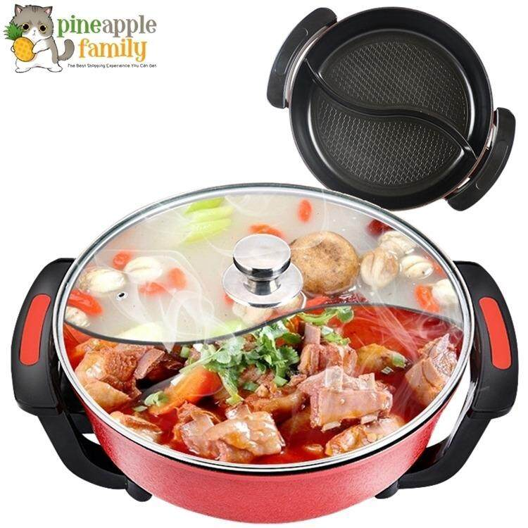 Korean 6.0l Multi-Functional Non-Stick Electric Steamboat Hot Pot With Divider By Pineapple Family.