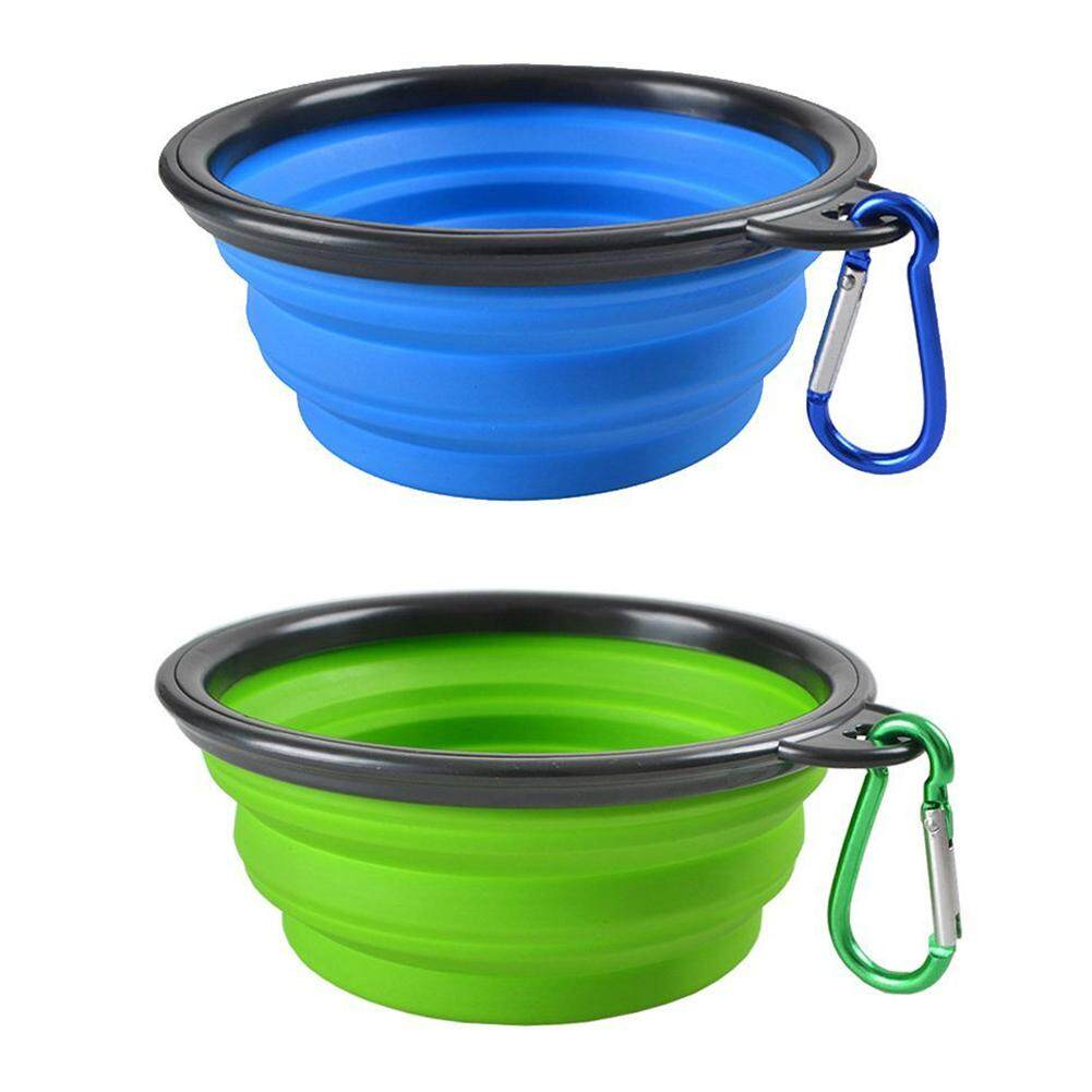2pcs Collapsible Dog Cat Pet Bowls, Food Grade Silicone Bpa, Dishwasher Safe, Perfect Foldable & Expandable, Travel Pet Bowls For Journey, Hiking, Kennels& Camping-Blue + Green By Yomichew.