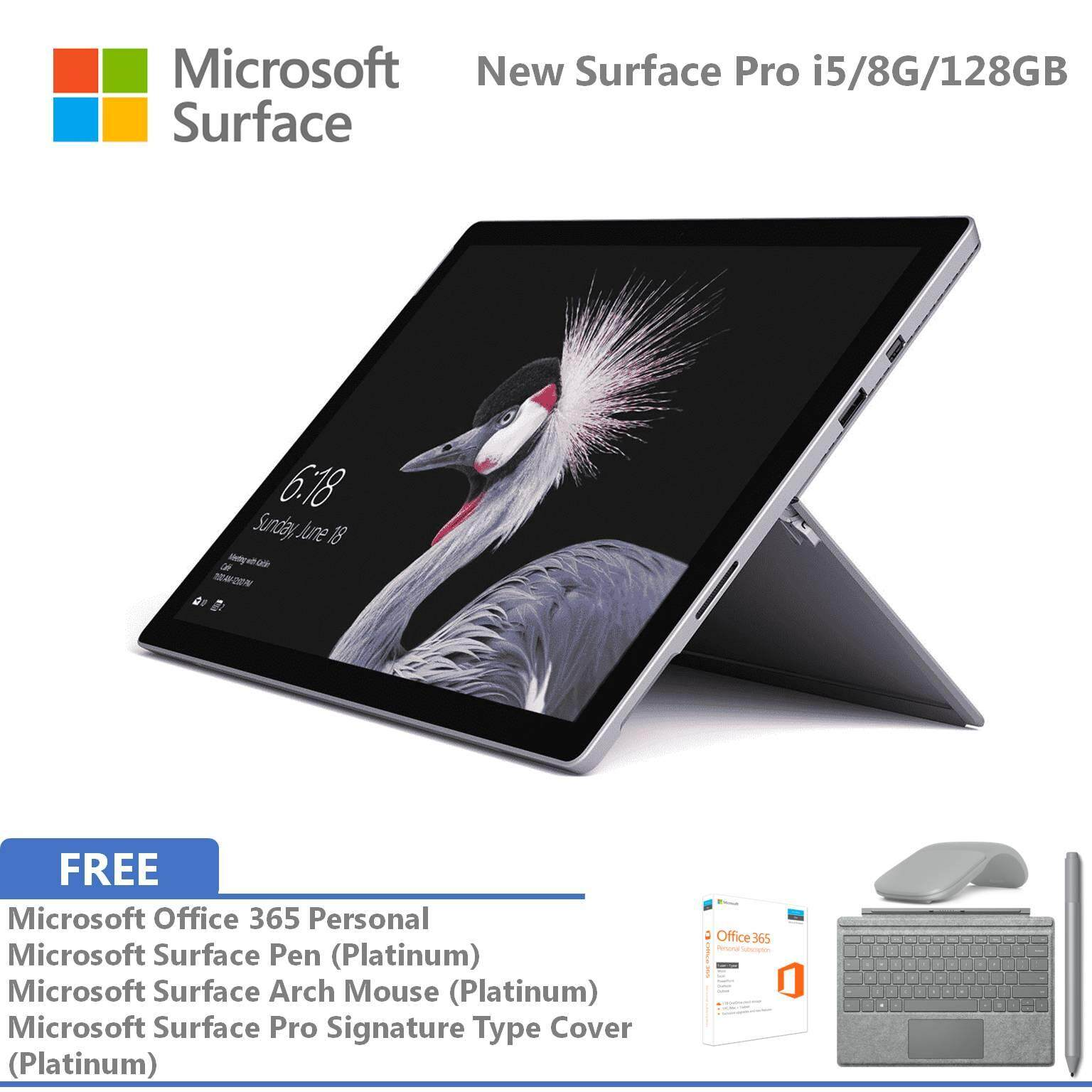 Microsoft New Surface Pro - 128GB / Intel Core i5 - 8GB RAM FOC Signature Type Cover + Pen + Arch Mouse + Office 365 Personal Malaysia