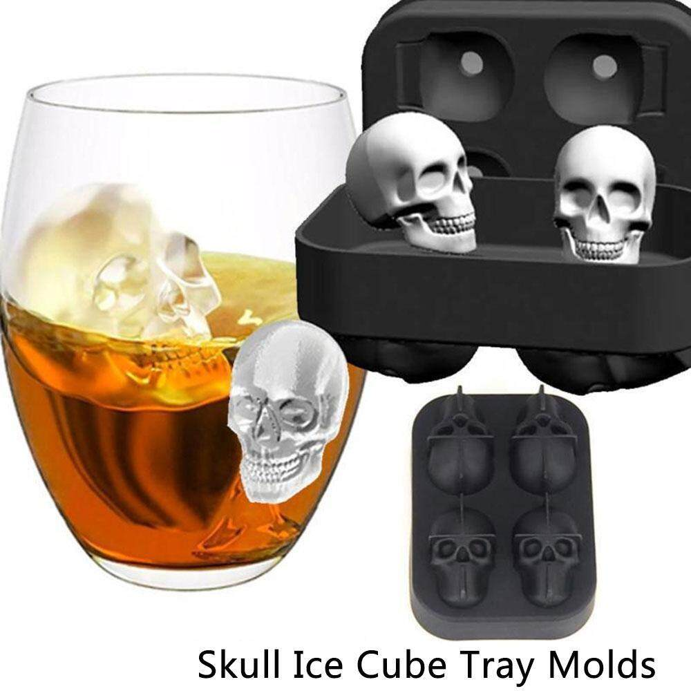 Womdee 3d Skull Silicone Jello Ice Mold Flexible Cube Maker Tray For Halloween And Christmas Party. Best For Whiskey And Cocktails By Womdee.