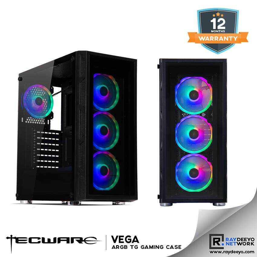 Tecware VEGA Tempered Glass ARGB ATX chassis (Included 4 Arc Spectrum Fans & Controller) [ATX, Matx, Mini-ITX] Malaysia