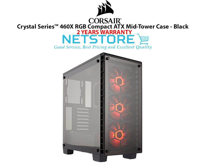 Corsair Crystal Series ™ 460X RGB Compact ATX Mid Tower PC Gaming Dekstop Case Black CC-9011101-WW Malaysia