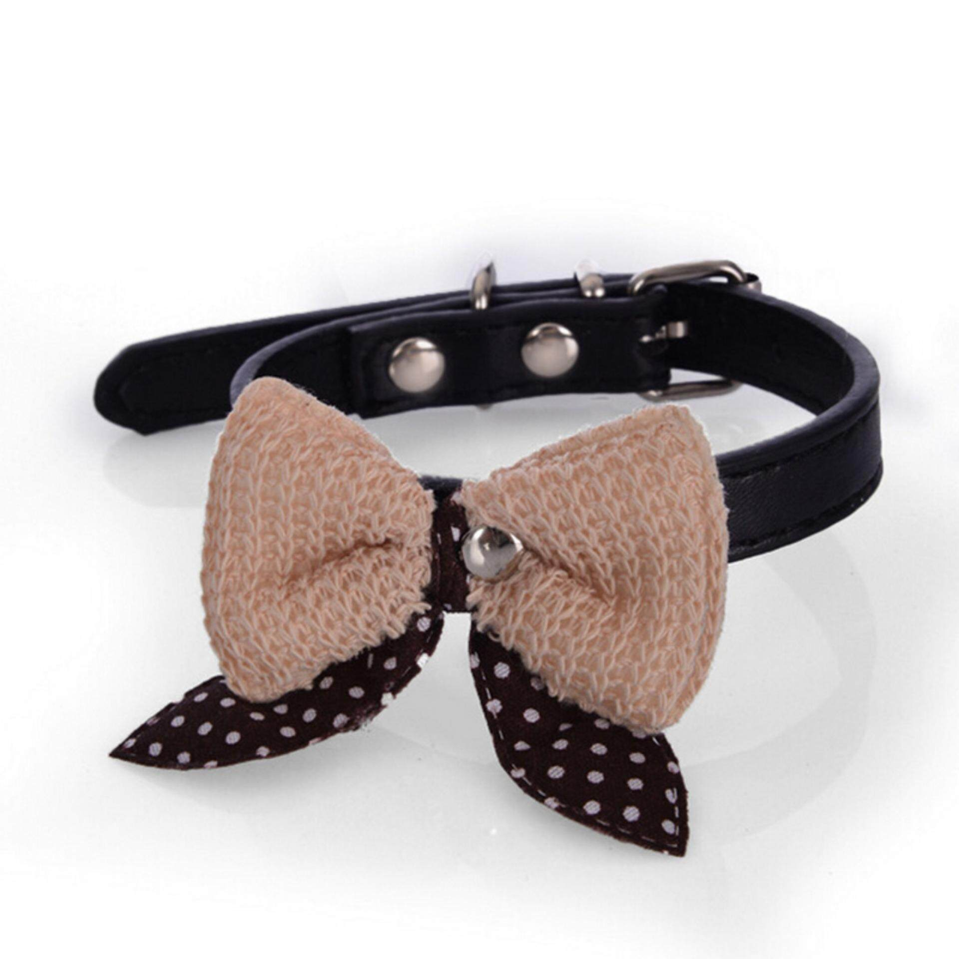 Bowknot Adjustable PU Leather Dog Puppy Pet Cat Collars Necklace Neck Lace Black Size:S