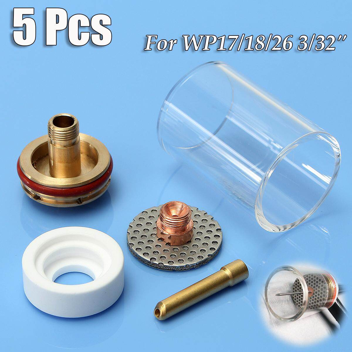 5Pcs Welding Torch Glass Cup Champagne Nozzle Kit For TIG WP17/18/26 3/32 2.4mm