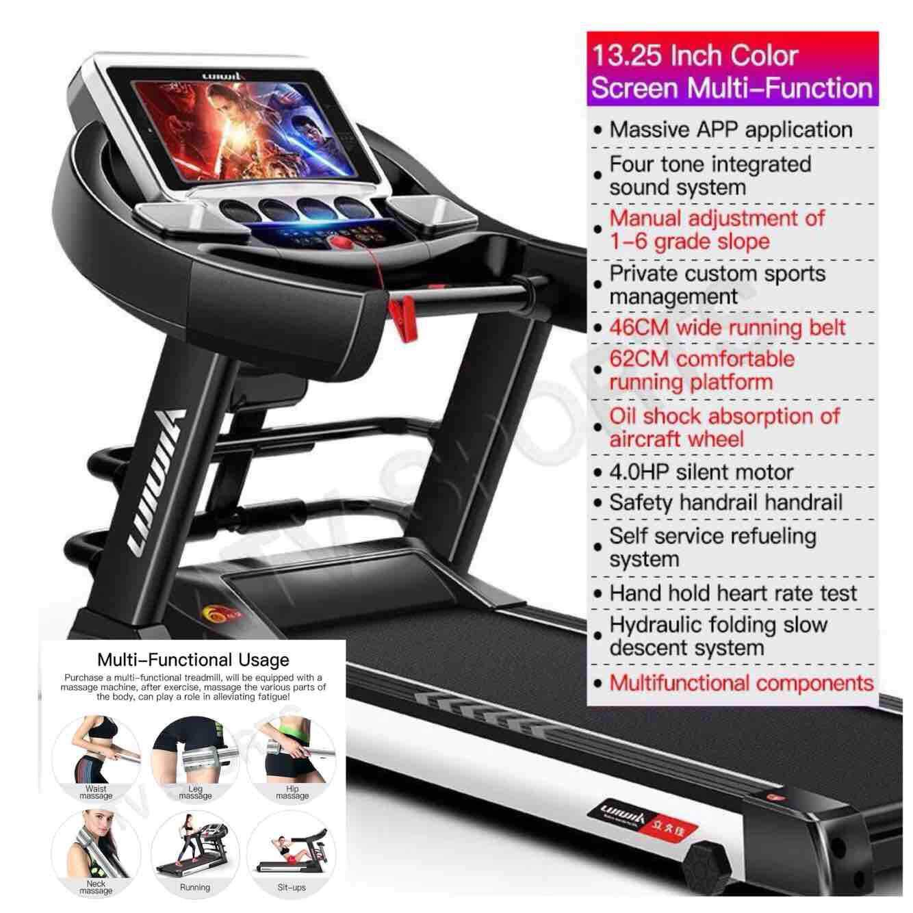 Lightning Send-Lijiujia Multifunction Treadmill 13.25inch Colour Screen 1-6 Grade Runway Lifting - 1 Year Warranty By Atv Sports And Style Sdn Bhd.