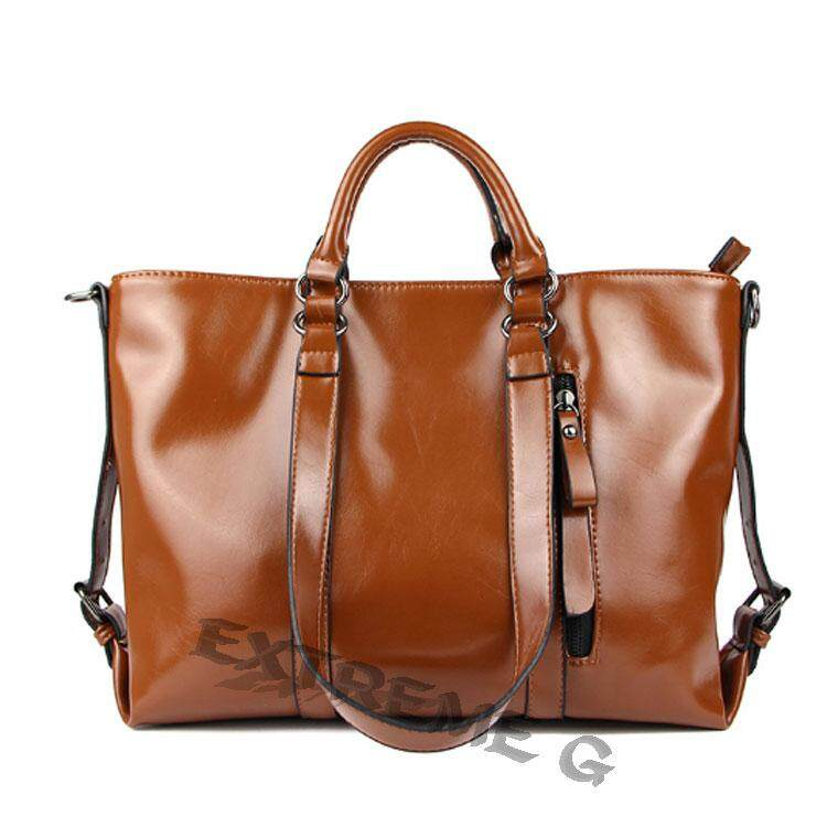 Fashion PU Tote Women Leather Handbags Messenger Shoulder Bags (Brown)