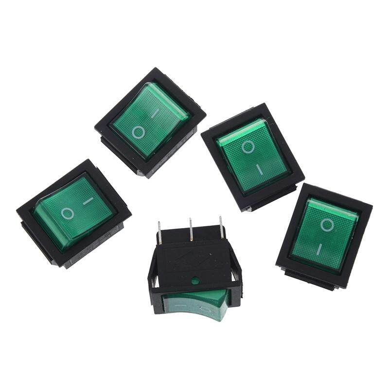 AC 16A/250V 20A/125V Green Light Illuminated DPDT ON/ON Boat Rocker Switch 5 Pcs