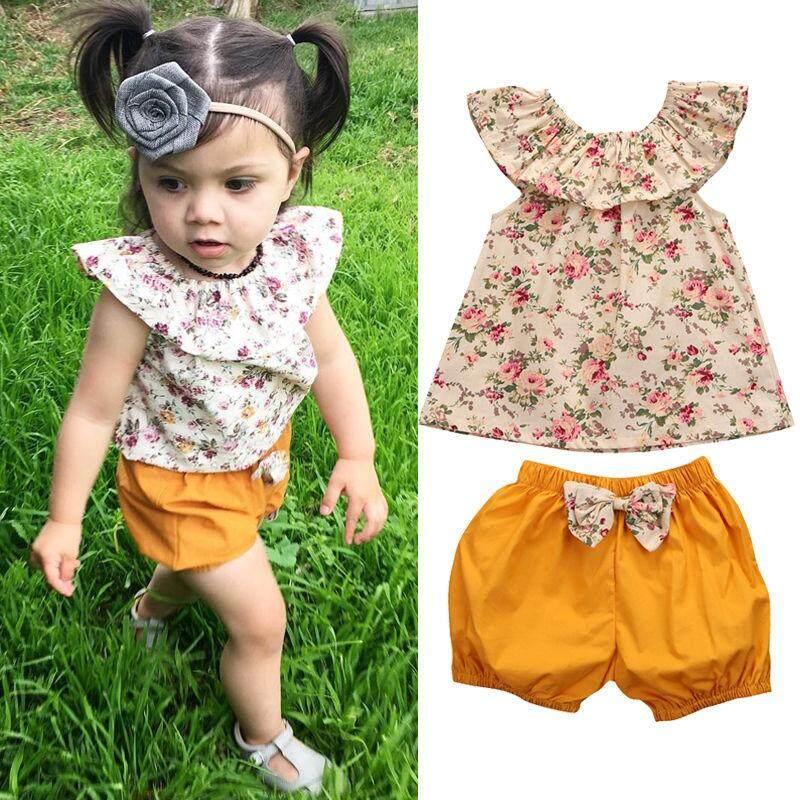 2Pcs Toddler Kid Baby Girl Clothes Ruffle T-Shirt Tops Floral Shorts Outfits Set