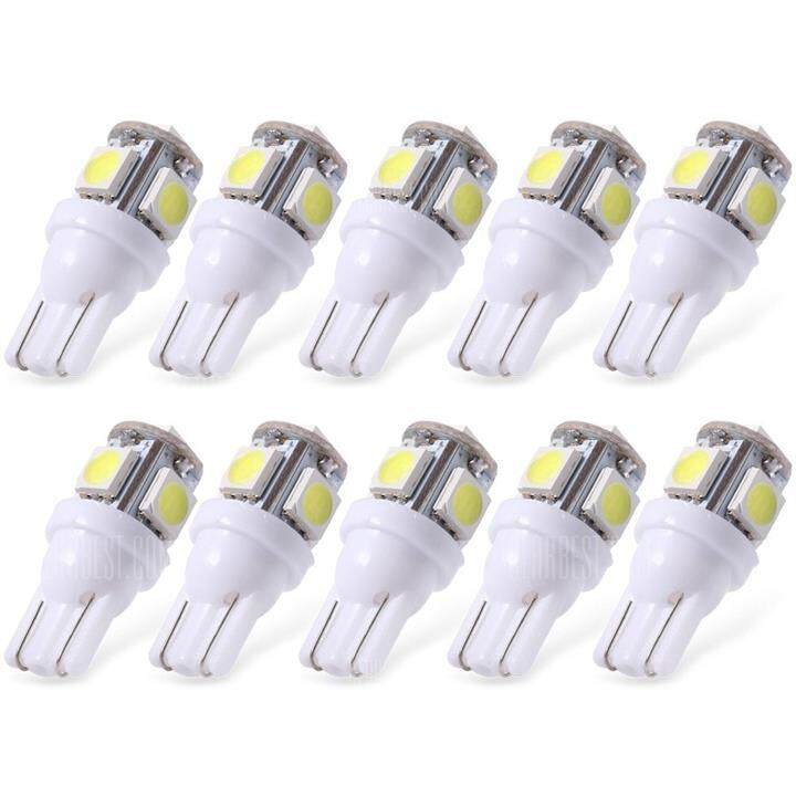 10x White T10 Led Car Light Bulbs T10 W5w 5 Smd 5050 By Online Car Automart.