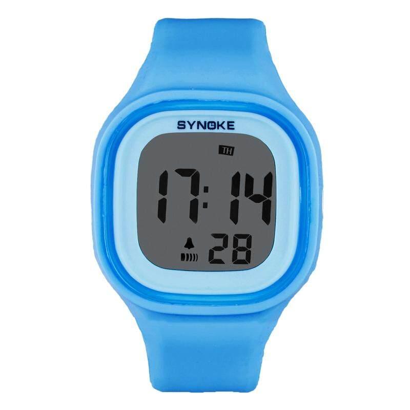 SYNOKE 1 pcs LED Digital Watch Silicone Waterproof Sports Light Watch for Kids Girls Boys (Blue) Malaysia