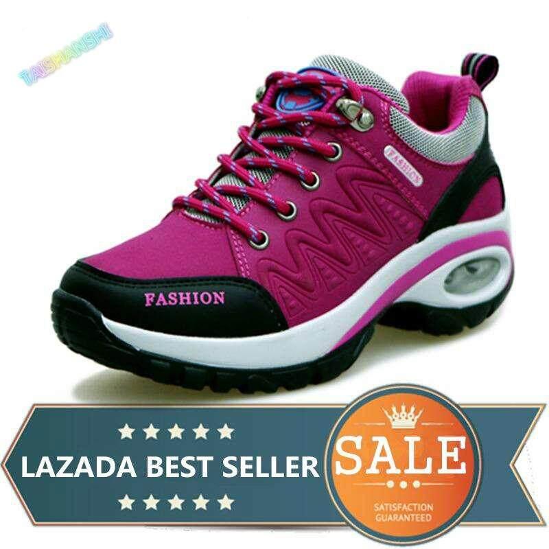 Womens Hiking Shoes Air Cushion Sneakers Heighten Casual Shoes Outdoor Sports Shoes (fuchsia) By Taishanzhishi.