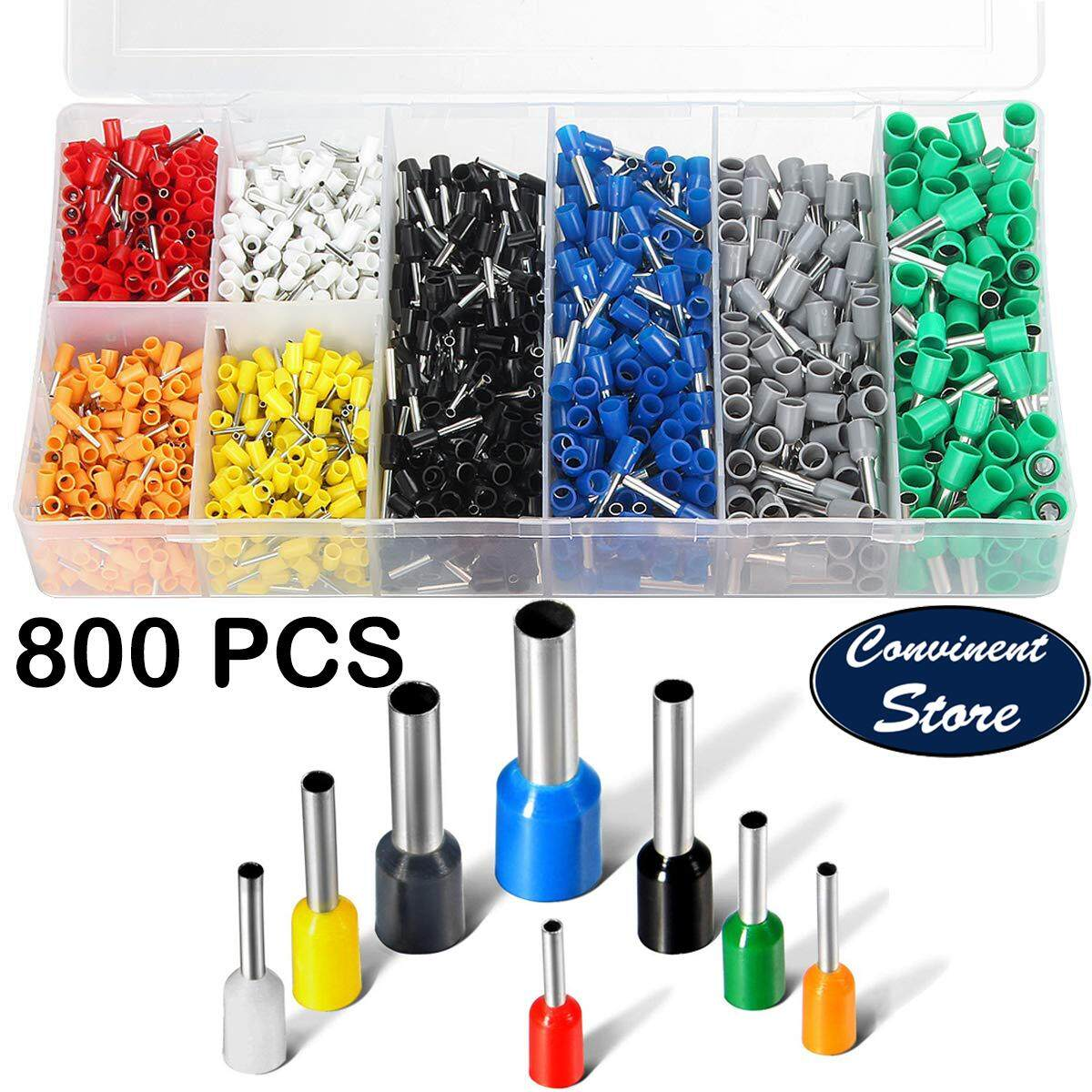 ✅【800PCS】Assortment Ferrule Wire Copper Crimp Connector, Wire Terminals Kit, Wire Connector Kit, Insulated Cord Pin End Terminal AWG 22-10 Kit with Box- Convinent Store