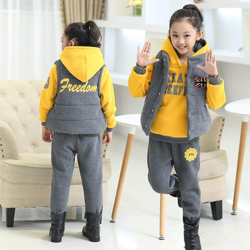 Dfyop New Childrens Clothing Thick Three-Piece Suit Jacket+hoodie+pant. By Dfyp.