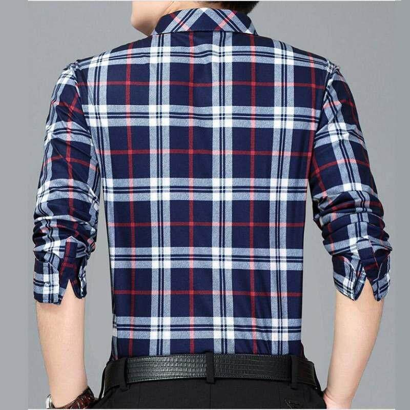 28604241cea0 High Quality Fashion Men Shirt Long Sleeve Plaid Shirt Men Casual Shirt (Red )