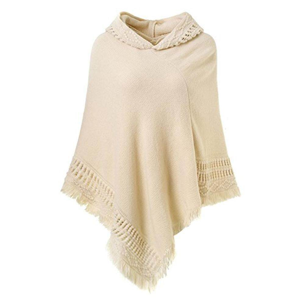 Womens Hooded Cape Solid Knitted Winter Poncho Sweater Shawl Cape With Fringed Hem By Big House.