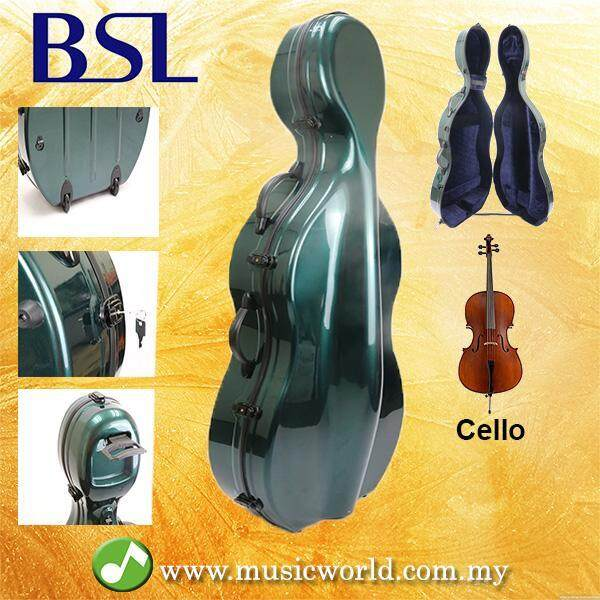 BSL ABS Carbon Lightweight Rollable Cello Hard Case Bag With Lock Green 4/4 Full Size Malaysia