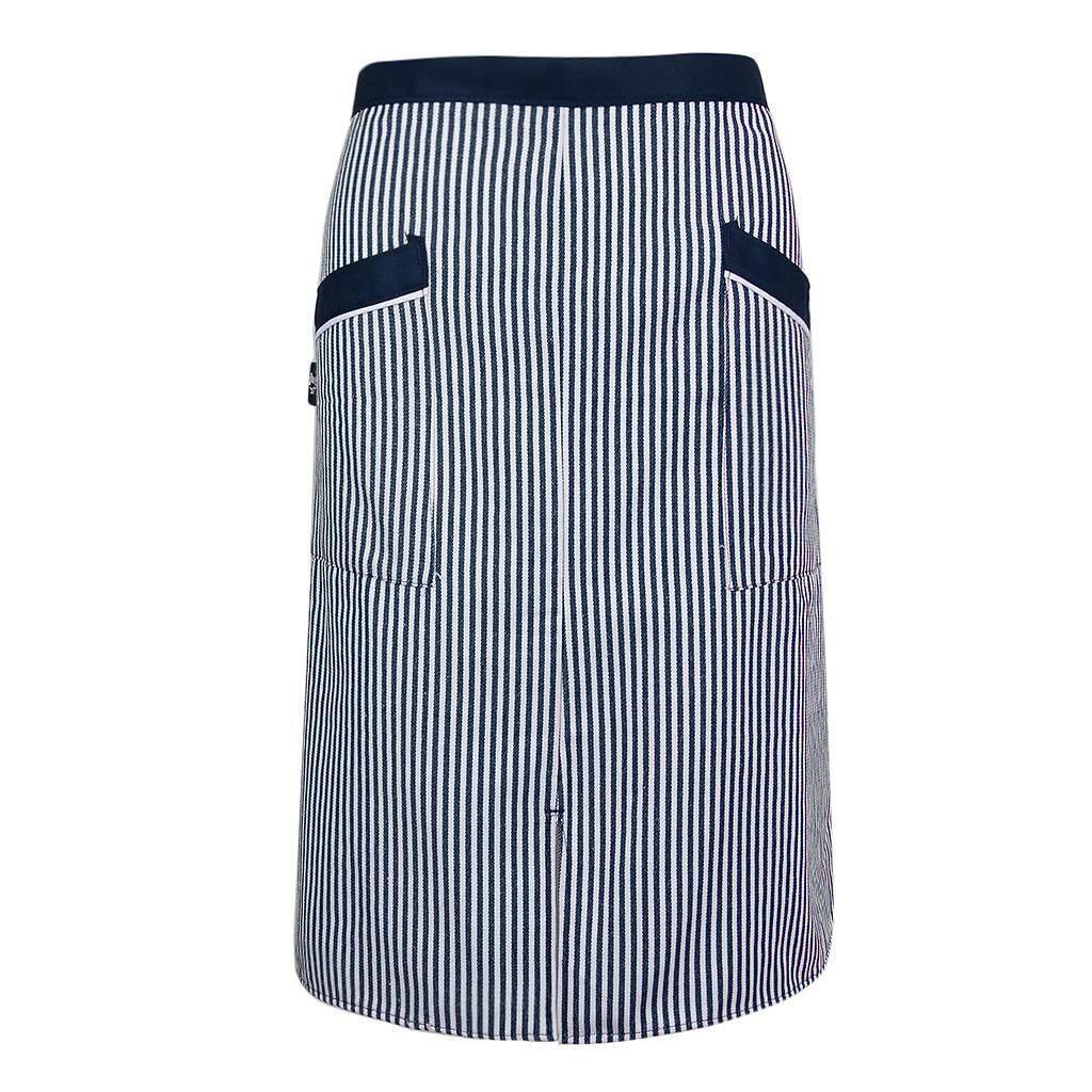MagiDeal Unisex Striped Chef Apron Bistro Waiter Apron Half Waist Tied Pockets Black