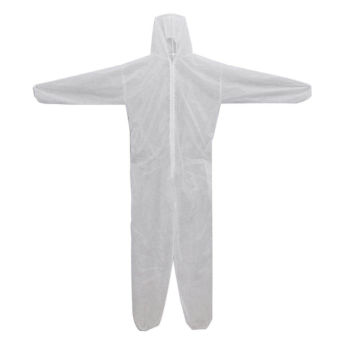 White Disposable DIY Overall Suit Protective Hood Coverall Work Clothes XXXL
