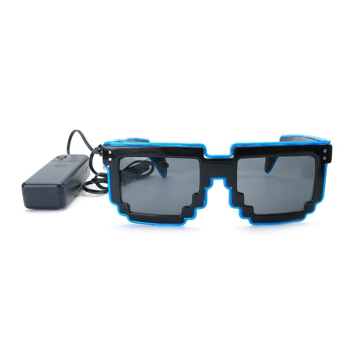 0c2f574cea0 LED EL Wire Light Up Glow Pixel Glasses Shades Nightclub Party Flashing  Rave   Blue